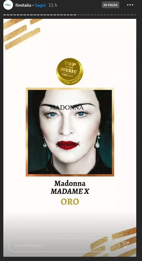 Madame X Certificazione Fimi Oro